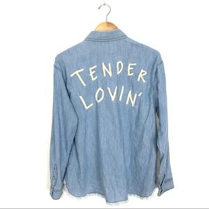 Tender Lovin Embroidered Chambray Western Shirt B6